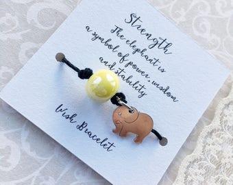Strength Wish bracelet, tie on bff gift, friend, happy birthday friendship bracelet, beaded hemp wrist wear, elephant charm bracelet