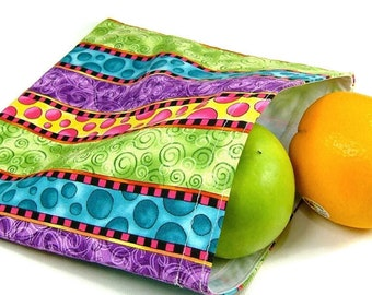 Reusable sandwich bag, reusable snack bag, zero waste lunch pouch, eco friendly teachers gift, cosmetic pouch, fruit bag, tampon holder