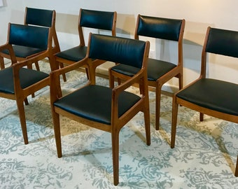 SET of SIX Vintage Danish Teak Dining Chairs