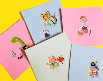 Tiny Paper Animals Card | paper art, cute post card, kawaii animal, miniature art, illustration print, wall art, illustration card