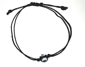 Grecian Glass Evil Eye Bracelet On A Fully Adjustable Waxed Cord For Personal  Protection