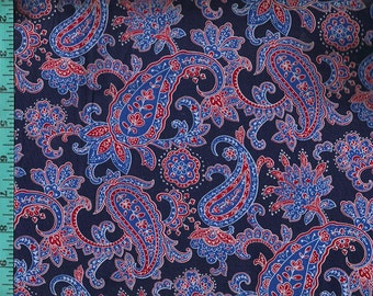 Paisley Blue Navy Red Fabric, Quilt Craft Home Decor