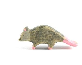 possum wooden toy, possum figurine, opossum, wooden waldorf toys, animal figurines, wooden toys