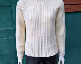 Vintage Ivory Skerries Cable Knit Sweater
