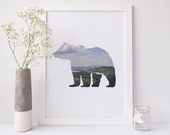 Bear Print, Colorado Mountain Wall Art, Printable Artwork, Digital Artwork, Woodland Nursery Decor, Nursery Print