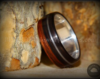 """Bentwood Ring - """"High Voltage"""" Striped Ebony Ring on Fine Silver Core with Guitar String Inlay - custom handcrafted steam bent wood rings"""
