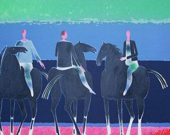 Vintage Large and Colorful Lithograph (3)  - Albert Zavaro