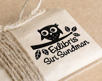 Bookplates stamp Large with owl 5 x 3.5 cm