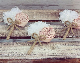 Men wedding boutonniere, blush buttonhole, groom boutonniere, rustic boutonniere