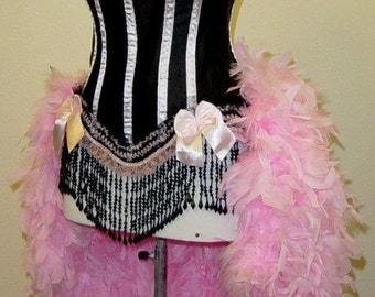 Size M-Pink & Black Victorian Lace Moulin Burlesque Costume Feather Carnival Circus