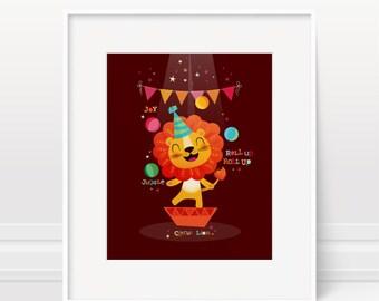 Nursery art, circus nursery art, boys nursery art, nursery print, lion print, boys bedroom, kids room art, boys nursery, baby boy gift