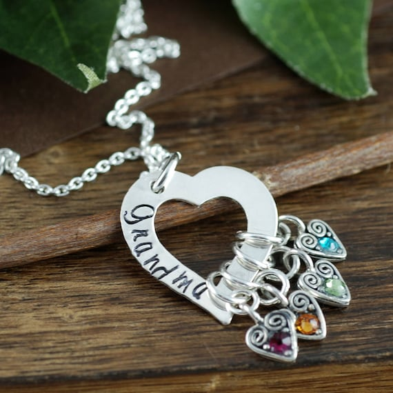 Personalized Grandma Necklace, Engraved Necklace, Mother's Birthstone Necklace , Grandma Heart Necklace, Gift for Grandma, Christmas Gift