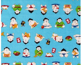 HALF YARD Cosmo Textile - A Sumo and his Kitty on Lt BLUE- AP76411 5B - Japanese Import