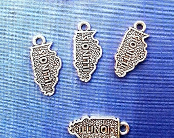 5 or 10 pieces State of Illinois Charm Antique Silver 2 Sided dangle charm US Map Pendant