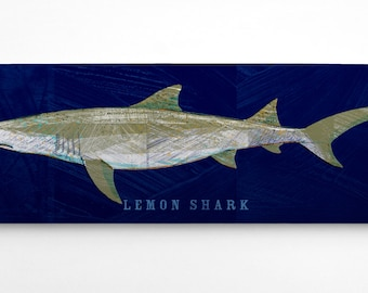 Fish Gifts for Husband, Shark Decor, Lemon Shark Art Block, Navy Background, Shark Wall Art,Beach Theme Bedroom, Fish Art, Lemon Shark Print
