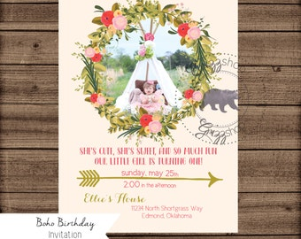 Boho Birthday Invitation with Picture