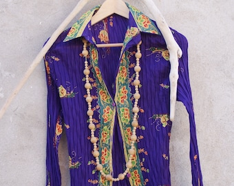 Top, Boho Blouse, Shirt, Cotton, Purple, Floral, Colorful, Long Sleeves, Women, Hippie, Gypsy, Festival, Summer, Casual, Ibiza Style, Size S