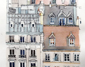 Paris Street Scene, Houses in France, Print From My Original Mixed Media Artwork