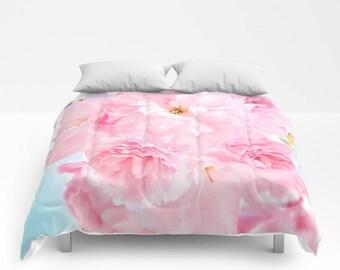 Soft Blue Sky with Pink Peonies Comforter, Pink Bedding, Flower bedding, Unique design, Full, Queen, King, Dorm, Floral, Wedding, Feminine