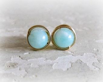 Gemstone Stud Earrings, Amazonite Stud Earrings, Aqua Stud Earrings, Wire Wrap Earrings, Gold Posts, Gold Stud Earrings, Natural Stone Studs