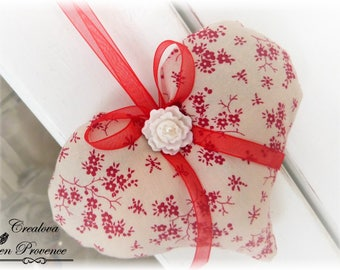 Fabric heart hanging pillow door Provence Lavender scent