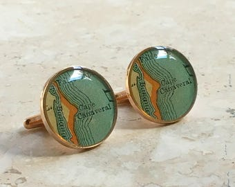 Cape Canaveral Cufflinks  Bronze Antique Florida Map Vintage Globe Cuff Links for Dad Last Pair