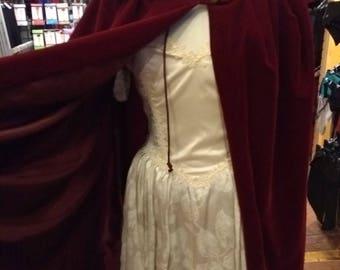 Lined Cloak - Wine Velvet