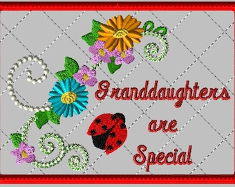 """Machine Embroidery Design-ITH-Mug Rug-""""Granddaughters are Special"""" with Ladybug and Zinnias includes 2 sizes"""