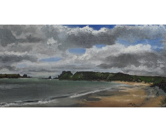 South Beach, Tenby, Wales, small original oil painting, 12 x 24 cm