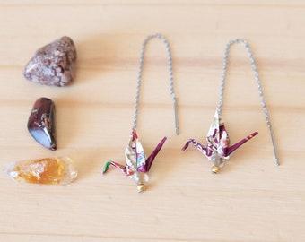 Chain earrings Japanese Washi Origami paper crane purple-ametrine - Aiko creating jewelry