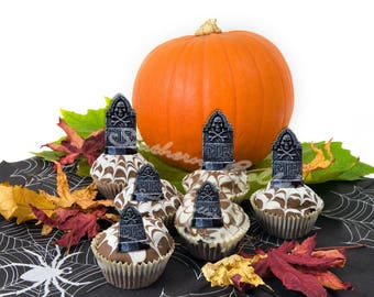 Edible Tombstone Cupcake Toppers ED192JPW-custom halloween printed topper-edible print tombstone cake, cookie topper-edible cake decoration