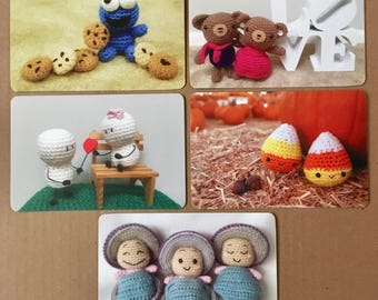Amigurumi Postcard Set, Crochet Postcard Set, Postcard Set of Amigurumi Characters