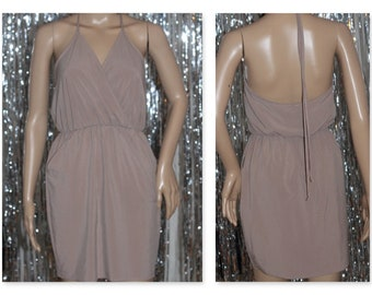 Vintage Silk Taupe Halter Dress w/ V- Cut *Mint Condition