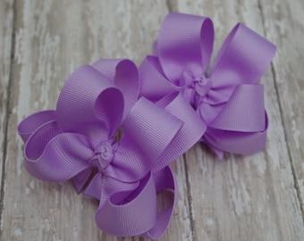 "Girls Hair Bows Lavender Boutique 3"" Double Layer Hairbows Set of 2 Pigtail Bows Lavender Pigtail Bows Lavender Hair Bows"