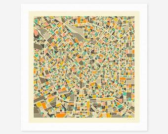 MILAN MAP (Giclée Fine Art Print/Photo Print/Poster Print) by Jazzberry Blue (ivory version)