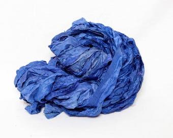 Worm Goo Sari Silk Kettle Dyed Navy Blue