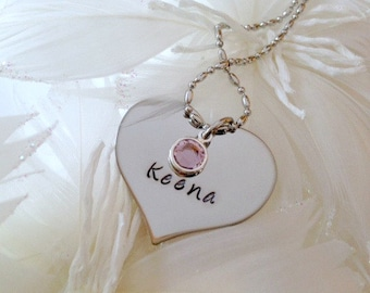 Hand Stamped Personalized Valentines Heart Necklace with Birthstone