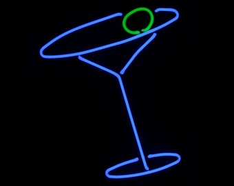Kool Martini Real Neon Handmade Wall Hanging Art Sculpture for your Hipster Bar or Man Cave