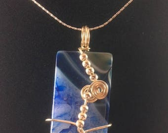 Lacy Blue Rectangular wire wrapped agate pendant