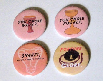 Indiana Jones Pin Set | Buttons | Magnet Set | Badge |  Sayings | Snakes | Whip | Hat | Kitchen