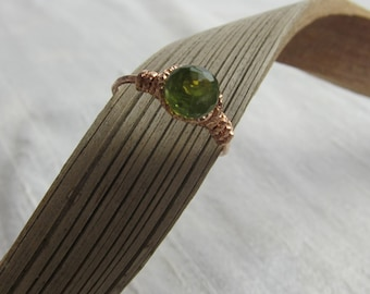 Peridot 14K Rose Gold Filled Handmade Gem Wrapped Ring