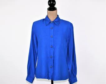 80s Royal Blue Shirt Women Medium Blouse Long Sleeve Button Up Top Rayon Shirt Size 10 Blouse 1980s Vintage Clothing Womens Clothing