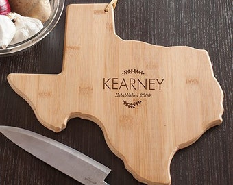 Personalized Family Name Texas State Cutting Board, Carving Board,  Engraved, Kitchen Decor, Family Name, Personalized  GfyL10621165TX