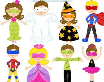 Halloween Kids Cute Digital Clipart - Commercial Use OK - Halloween Graphics, Halloween Clipart, Halloween Costumes