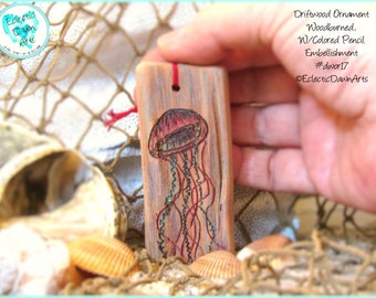 Pink Jellyfish Ornament, Driftwood Art Ornament, Pyrography and Pencil, #DWOR17