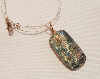Glass Pendant in Soft Shades of Sage, Gold and Pink With Rose Gold Wire Wrap - Cyberlily