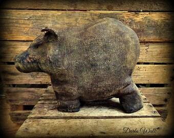 Primitive Folk art Barnyard Pig