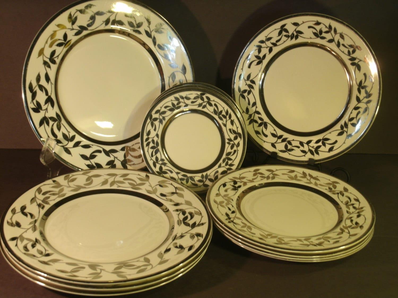 Vintage Myott Son & Co. Lusterware 14 Plates Set English