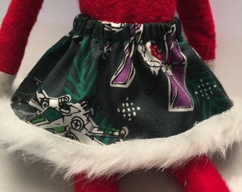 Christmas Shelf Clothes STAR WARS Space Ship Green Christmas Skirt for Girl Elf or Pixie