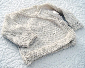 Baby kimono jacket - Baby Wrap Cardigan - PDF knitting pattern - 6-9 months - 12 months - 18 months - Easy Beginner DIY
